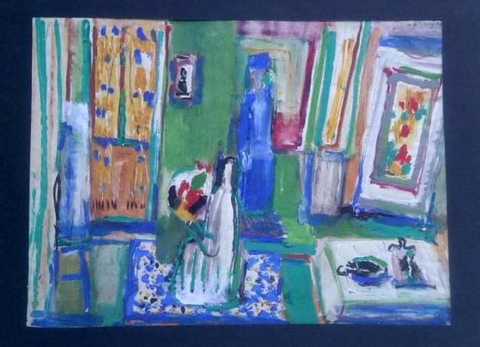 Interijer sa plavom figurom