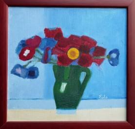 Crveno cvijeće u zelenom peharu (Različak)