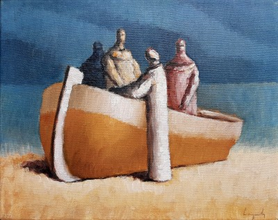 Čamac i četri figure